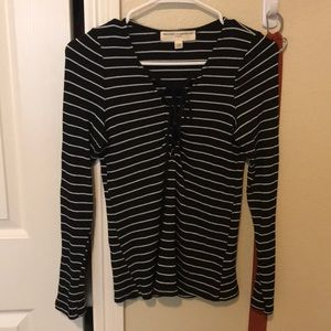 Striped, tie up, long sleeve top